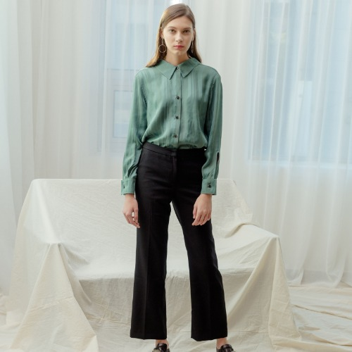 Bella Neck Point Blouses - Green